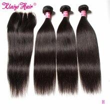 Klaiyi毛ブラジルストレートヘアの束で 100% 人間のremy毛は織物とレースの閉鎖
