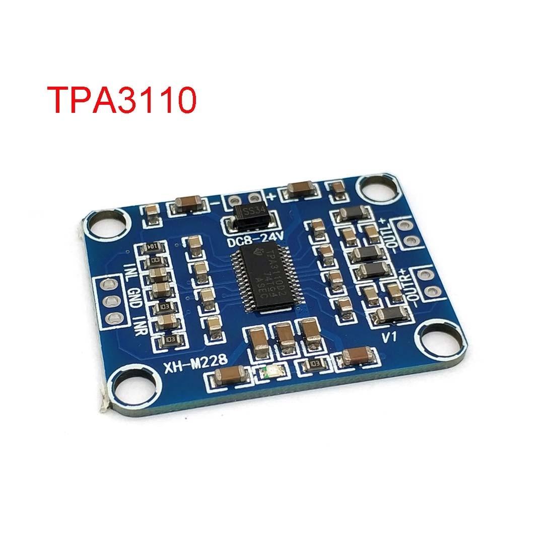 XH-M228 TPA3110 2X15W Digital Audio Stere Amplifier Module Mini Binaural Amplifier Board 3A DC 12V 8-18V AMP Controller Blue