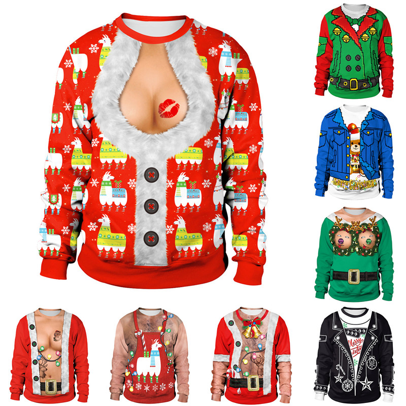 Autumn Winter Clothing 2019 Novelty Ugly Christmas Sweater For Gift Santa Elf Funny Christmas Jumper Pullover Womens Mens Jerseys And Sweaters Tops