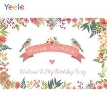Yeele Happy Birthday Backdrop Flower Bird Princess Girl Photocall Baby Customized Photography Background Vinyl For Photo Studio