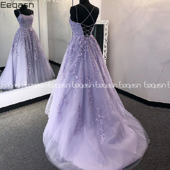 Eeqasn Lilac Lace Prom Dresses Spaghetti Straps Vestido De Fiesta Open Back A Line Women Gowns Long Formal Evening - discount item  25% OFF Special Occasion Dresses