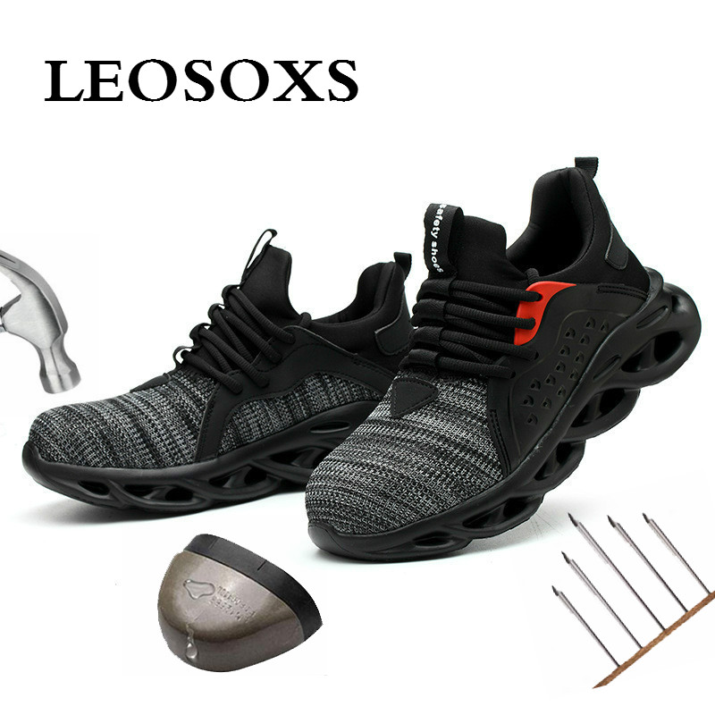 Leoxose Men Light Sneaker Indestructible Steel Toe Soft Anti-piercing Work Boots Men Shoes New Breathable Mesh Safety Shoes 1
