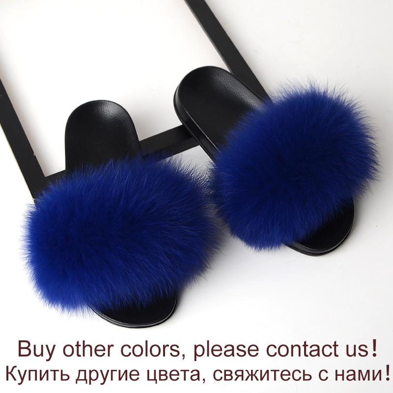 Fur Slippers Women Real Fox Fur Slides Ladies Home Furry Flat Sandals Female Cute Fluffy House Shoes Woman Brand Luxury 2020 New
