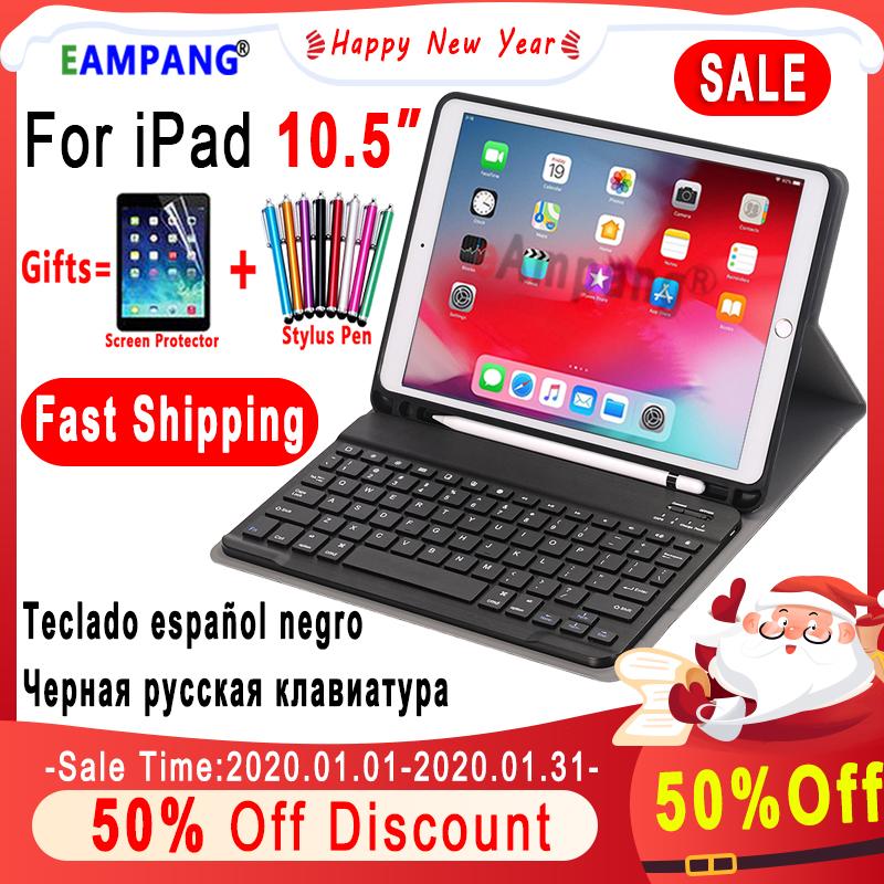 Keyboard Case For Apple IPad Air 10.5 2019 Air 3 IPad Pro 10.5 2017 A1701 A2152 Bluetooth Keyboard Case Cover Funda Pencil Slot