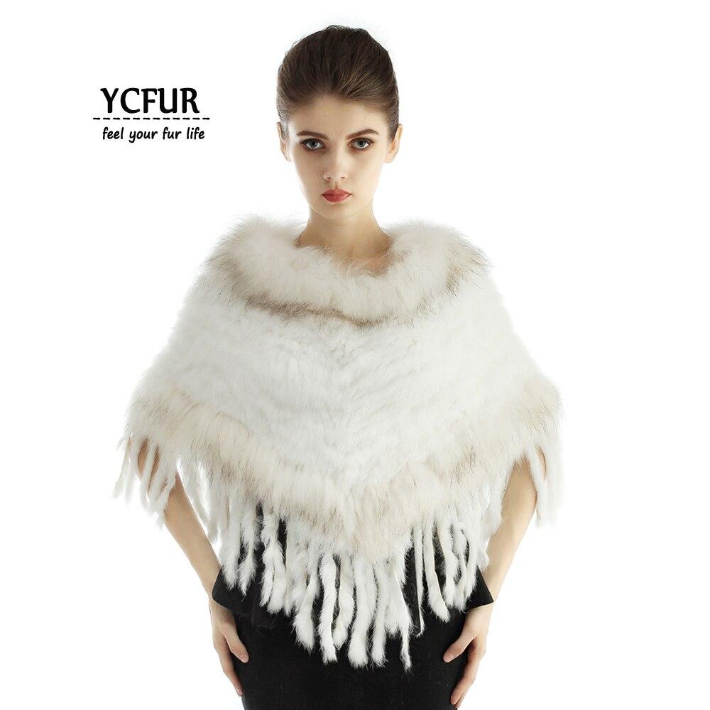 Hiver chaud épais fourrure étole Poncho femmes écharpe à la main tissage lapin fourrure femelle Capes châles raton laveur col étoles