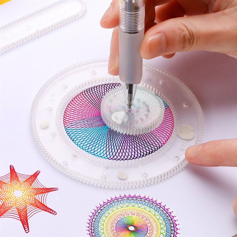 27pcs Spirograph Magic Drawing Toys Set Kids Art Craft Create Toy Children's Art Painting Template Ruler Stationery Drawing