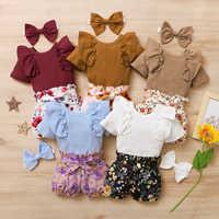 Conjunto de 3 uds. De ropa de verano para niñas recién nacidas, Pelele con volantes, pantalones cortos florales, Diadema con lazo, atuendo para niñas pequeñas