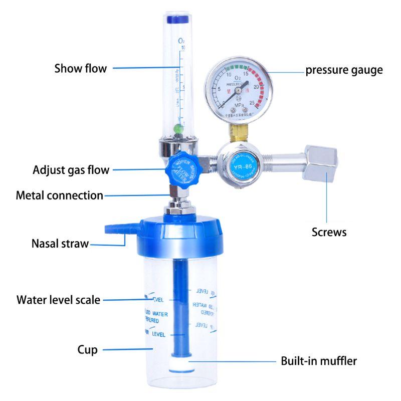 Tools : Oxygen Flow Meter Oxygen Flowmeter Pressure Gauge Oxygen Pressure Regulator 0-10L min G5 8 for Elderly Pr