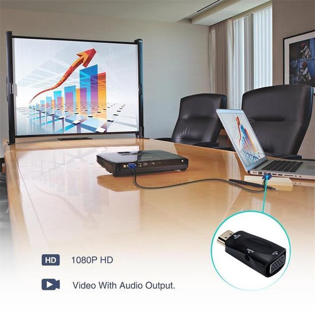 Roreta HDMI to VGA Adapter HDMI Male to VGA Female HD 1080P Audio Cable Converter For PC Laptop TV Box Computer Display|HDMI Cables|   -