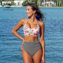 CUPSHE Blume Drucken Tank Bikini Set Frauen Lace up Hohe Taille Gestreiften Zwei Stück Bademode 2020 Strand Neue Raffen Bad badeanzüge