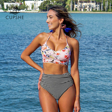 CUPSHE Flower Print Tank Bikini Set Women Lace up High Waisted Striped Two Piece Swimwear 2020 Beach New Shirring Bath Swimsuits