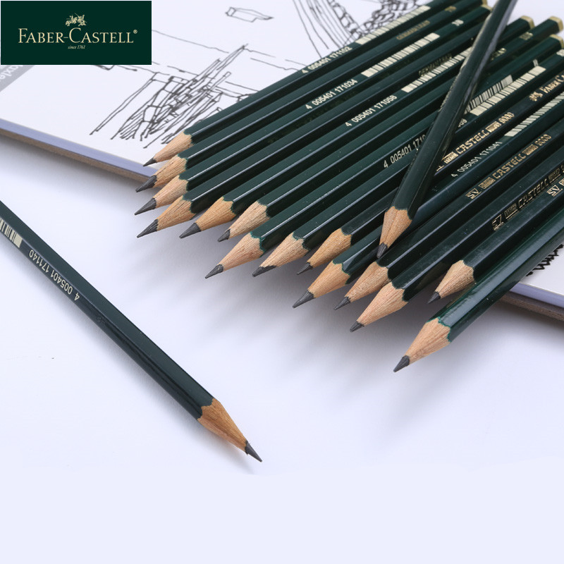 1Pc Germany Faber-Castell 9000 Sketch Pencil Drawing Design  Art Supplies SV Bonding Technology Raw Wood Environmental Safety
