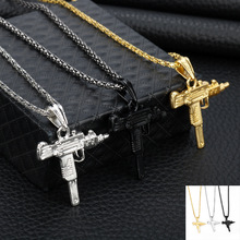 Pendant Necklace Jewelry-Accessories Uzi Chain Gifts Army-Style Gold Gothic Hip-Hop Women