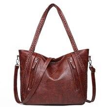 New PU soft leather female bag retro large pocket handbag women shoulder crossbody bag casual hand bags large capacity Tote 2020 цена 2017