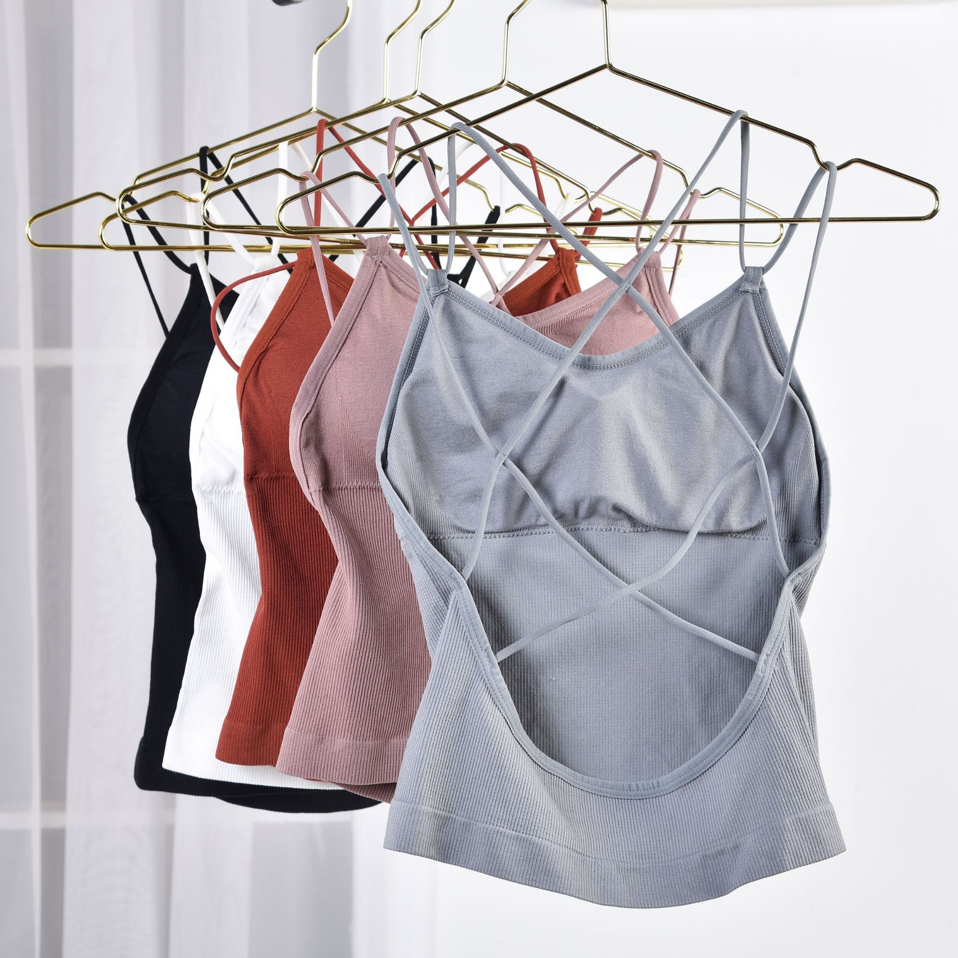 Sexy Crop Top Women Tank Tops Female Cropped Camis Top Cross Back Comfort Underwear Summer Padded Top Sleeveless Camisole Femme