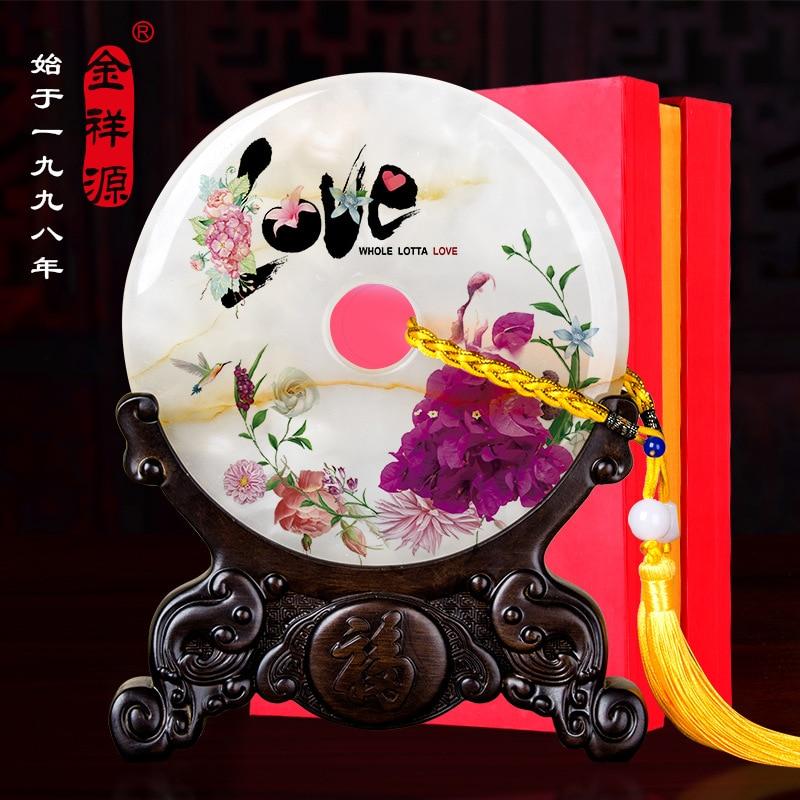 Jade paix boucle décoration créatif Couples décoration cadeau pour mariage Jade artisanat ornement personnalisable usine