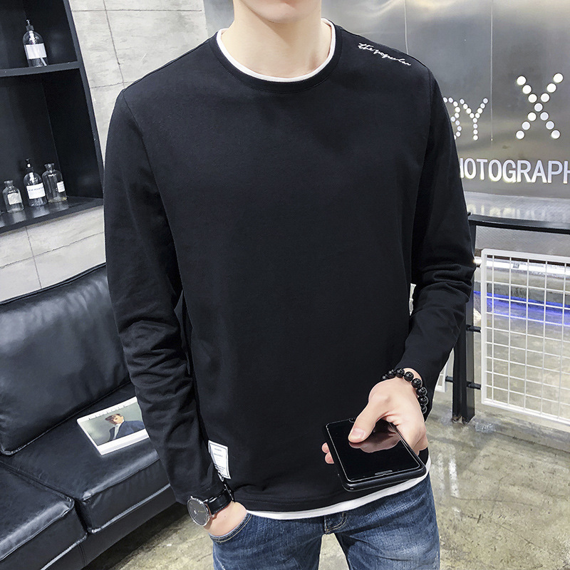 Мужская футболка с длинным рукавом, мужская хлопковая приталенная рубашка с круглым вырезом, Молодежный тонкий Одноцветный Топ 9524