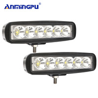 Anmingpu barra de luz de led 18w  barra de luz de led para trabalho em motocicleta  trator e barco fora da estrada 4wd 4x4 caminhão suv 12v