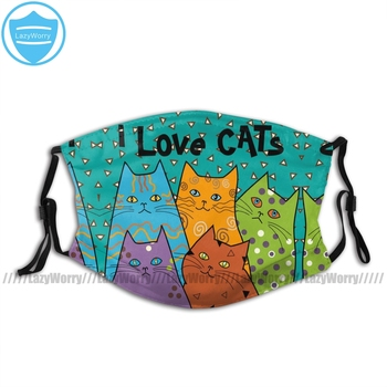 Anime Cat Mouth Face Mask Retro I Love Cats Budge Facial Mask Kawai Adult Mask Funny with Filter image