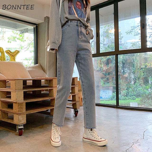 Jeans Women Vintage Simple Girls Korean Style Casual Womens All match Trousers Ankle length Harajuku High Quality Loose Fashion