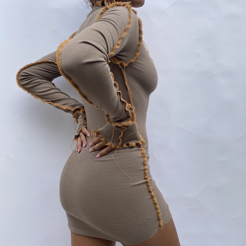H413f4b92d6d34795a255e8143636123f9 - Hugcitar 2020 Long Sleeve Patchwork Sexy Mini Dress Autumn Winter Women Fashion Streetwear Outfits Clit Club Y2K Clothing