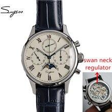 Relógio mecânico de piloto masculino relógio cronógrafo seagull 1963 para homem horloges mannen swan pescoço moonphase relógio de pulso masculino
