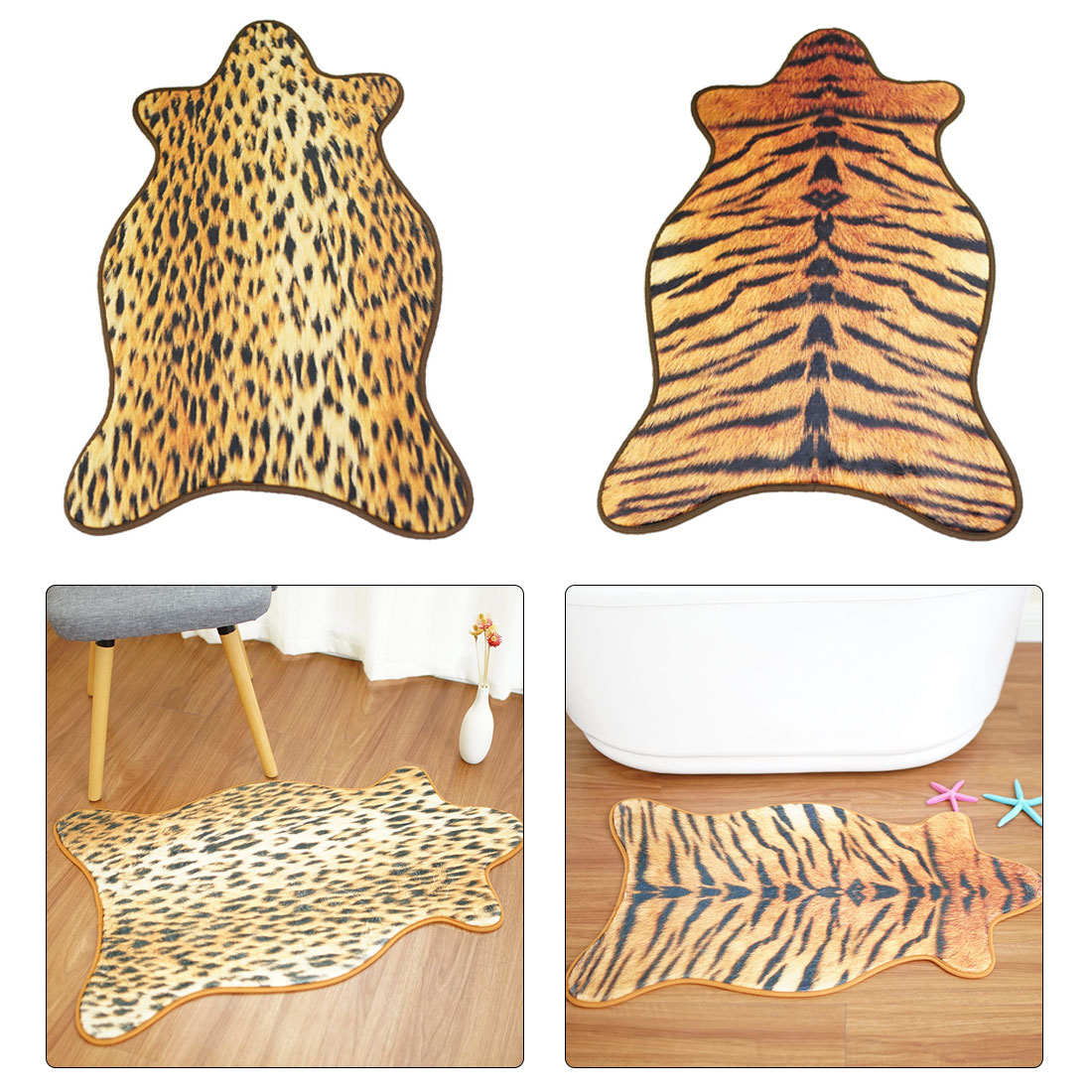 55x90cm Cow Leopard Tiger Carpet Imitation Animal Skins Natural Shape Rugs Living Room Bedroom Decoration Non-slip Floor Mats