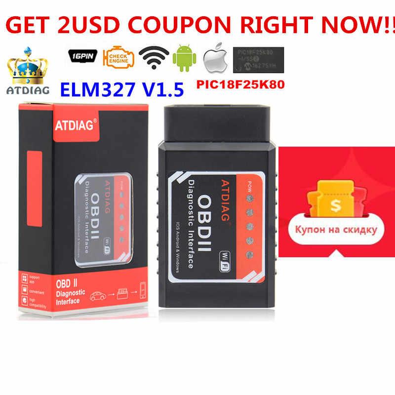 10 шт. OBD OBD2 сканер ELM327 прошивка V1.5 PIC18F25K80 чип беспроводной для Android или iOS ELM 327 поддерживает все протоколы OBD2