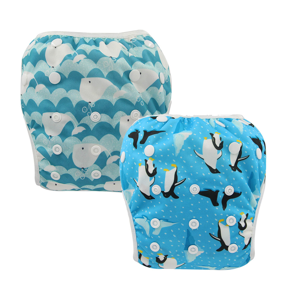 2 PACK Baby Swim Diapers Waterproof Adjustable Cloth Diapers Pool Pant Swimming Diaper Ohbabyka Reusable Washable Baby Nappies