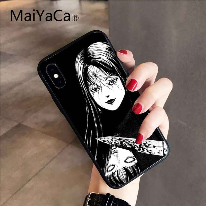 Maiyaca junji ito tees horror tpu macio silicone caso de telefone para o iphone 11 pro max 8 7 6 s plus x xs max 5 5S se xr 10 capa