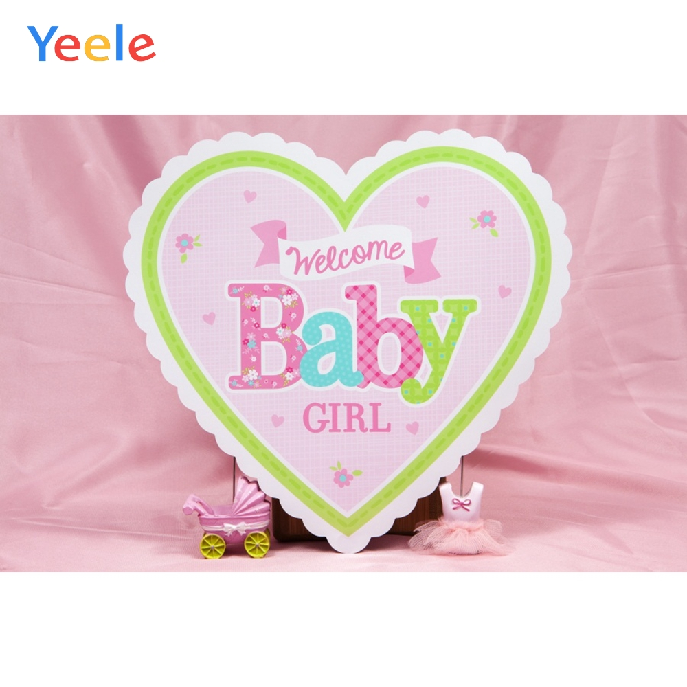 Pink Curtain Love Heart Decor Girl Baby Shower Baby Portrait Photo Backdrop Customized Photographic Backgrounds For Photo Studio