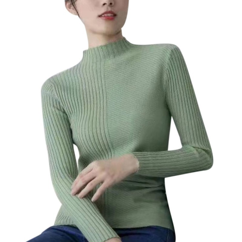 ETOSELL Women Long Sleeve Round Collar Slim Bottoming Knit Sweater Female Fashion Simple Solid Color Slim Sweater