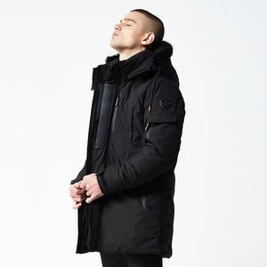 Image 3 - 2020 kış ceket erkekler uzun kürk yaka kapüşonlu Parka erkekler için kalın sıcak ordu askeri taktik rüzgar geçirmez giyim spor ceket