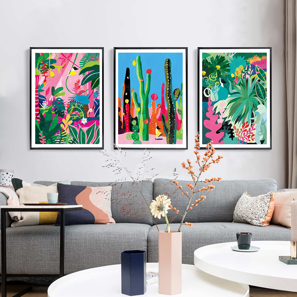 Botanical Garden Cactus Jungle Wall Art Canvas Painting Color Abstract Plants Nordic Poster and Prints Picture Modern Home Decor