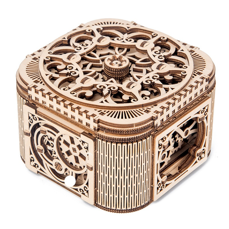 Wooden Puzzle Model Building Blocks-DIY Assembled Toys-Creative Wooden Mechanical Transmission Jewelry Box Assembled Model Treas
