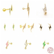 CANNER pendientes plata 925 Pave Zircon Lightning Mini Piercing Earring For Women Girlfriend Stud Earrings Jewelry Accessories