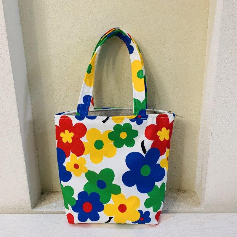 Canvas Lunch Handbag  Box Thermal Bag Garden Flowers Cute  Hand Bag Zip Portable Bag Women Food Bag For Work School Tote Bags