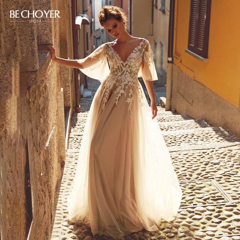 Fairy V-neck Appliques Wedding Dress Charming Lace Illusion A-Line Princess BECHOYER PZ31 Bride Gown Customized Vestido De Noiva