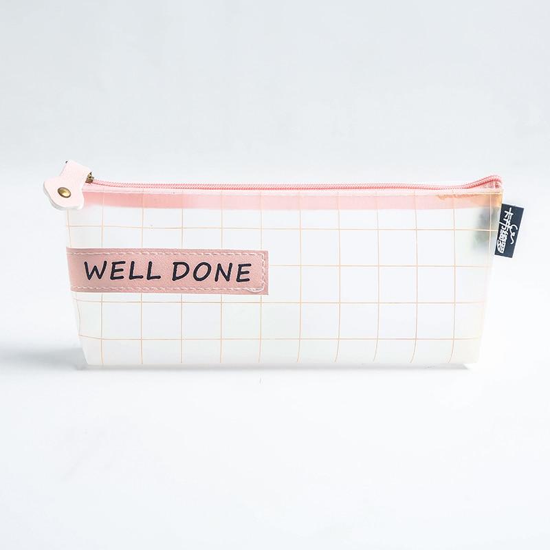 Купить с кэшбэком Simple Kawaii Pencil Bags Creativity Transparent  Cute Zipper Pencil Case School Student Supplies Pen Bag Stationery Storage Bag