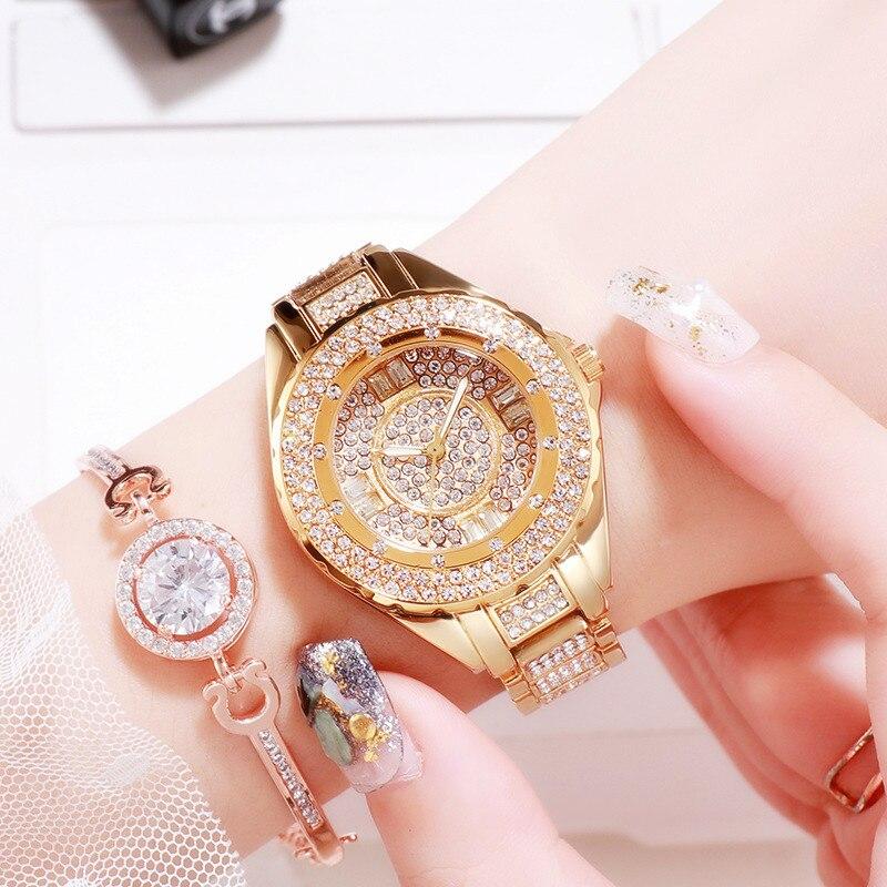 Image 4 - 2020 Hot Sale Women Watches Lady Diamond Stone Dress Watch Gold Silver Stainless Steel Rhineston Wristwatch Female Crystal WatchWomens Watches   -