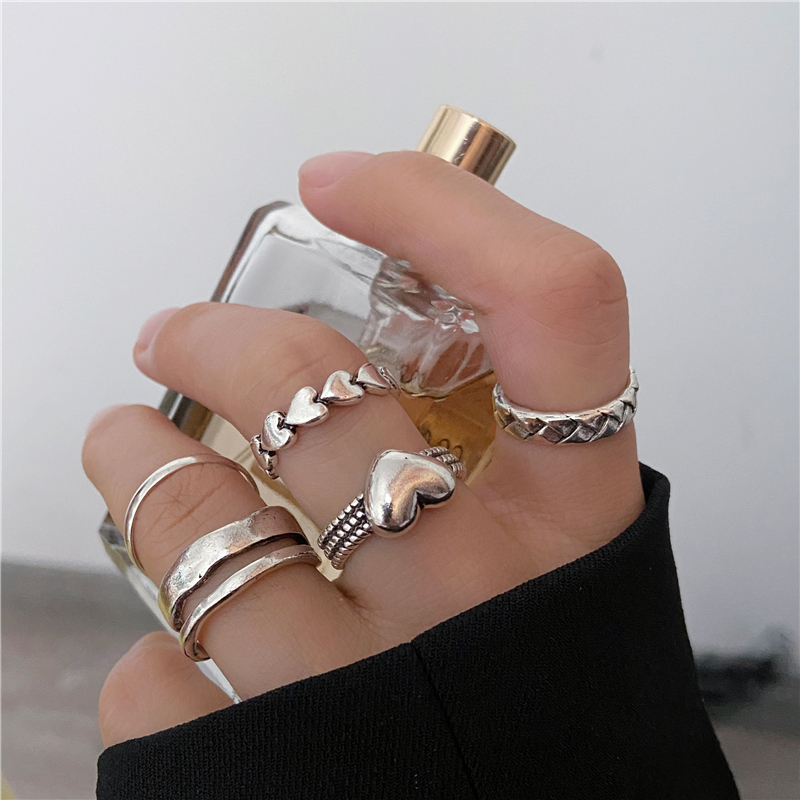 Vintage Punk Heart Opening Rings Set For Women Men 5PCS Geometric Silver Color Knuckle Ring Unisex Finger Joint Ring Jewelry