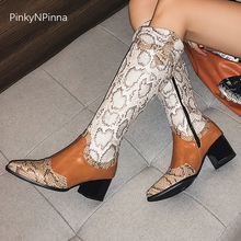winter short plush warm soft chunky heels long knee high boots women zipper large size snakeskin pattern print sexy shoes female women winter long boots knee high velvet soft warm short plush inside glitter square heels pearls ladies fashion boots shoes