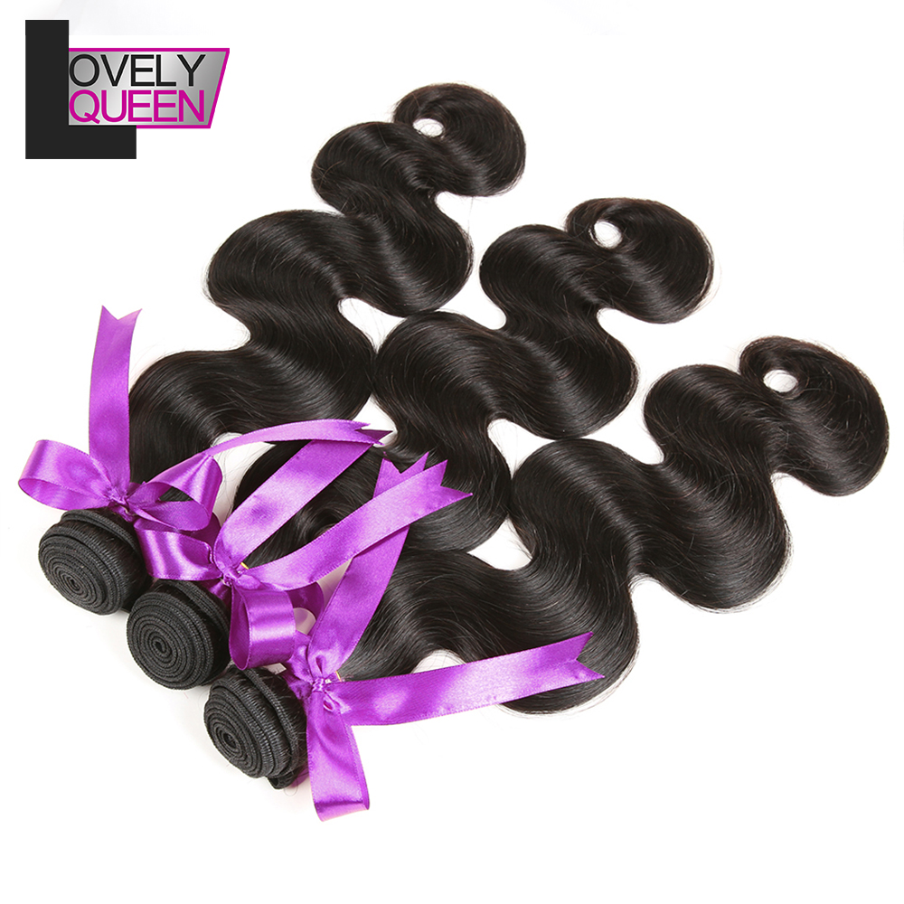 Lovely Queen Hair Body Wave Bundles Human Hair 3 Bundles Weaves Non Remy Natural Color