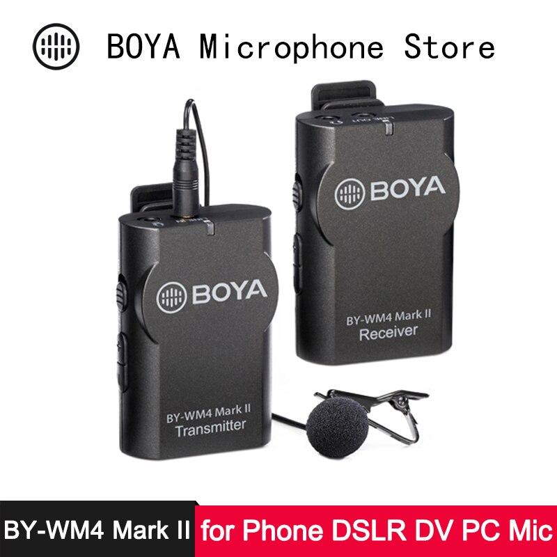 BOYA téléphone sans fil Lav Microphone pour iPhone Android Smartphon appareil photo reflex DV caméscope PC professionnel Audio vidéo Lavalier Mic