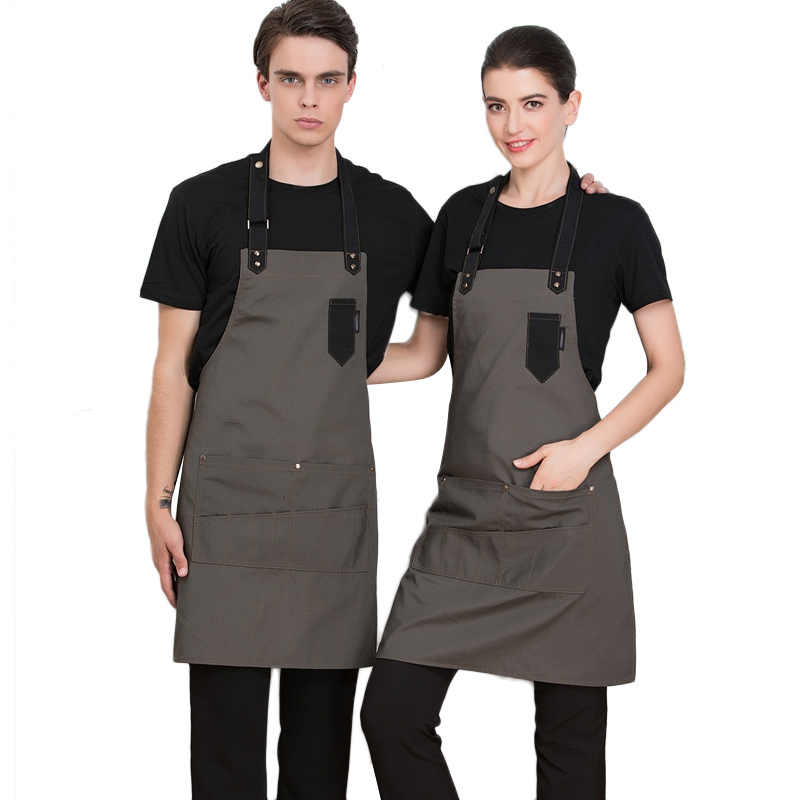 Unisex Chef Waiter Cafe Restaurant Cooking Kitchen Apron Adjustable Aprons With Pockets Bibs Pinafore