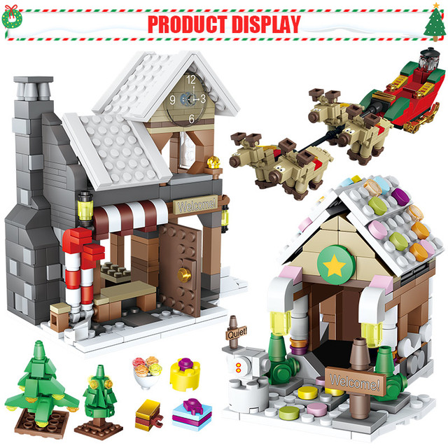 741pcs Christmas Snowman Building Blocks  Winter Village Christmas Tree Santa Claus Figures Bricks Toys For Kids Gifts
