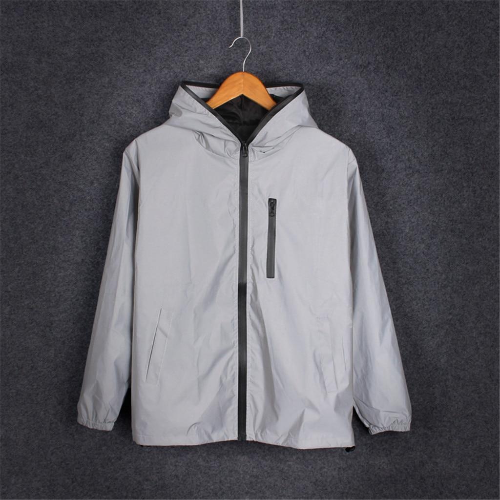 Hip Hop Reflective Noctilucent Hooded Jacket 2019 New Running Sporting Mens Light Jackets Coats Waterproof Coat Outwear 7.24 6