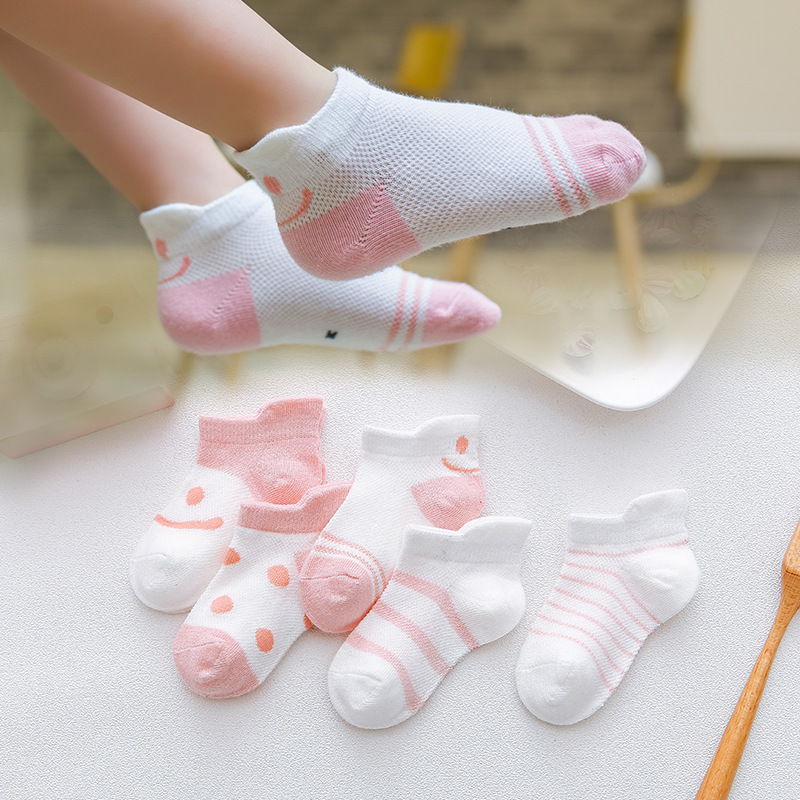 CHILDREN'S Socks Cotton Socks Spring And Autumn Small Middle And Large BOY'S Girls Summer Mesh Boat Socks Baby Thin Short Socks