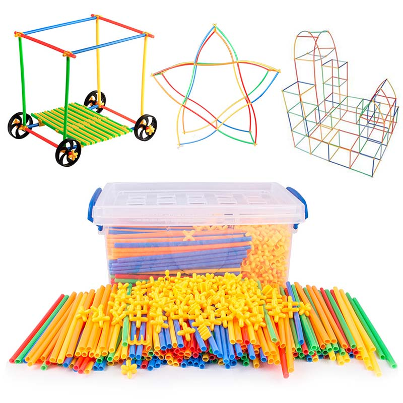 4D DIY Magnetic Blocks Plastic Straw Fight Inserted Construction Building Kits Blocks Educational Toy for Children-in Magnetic from Toys & Hobbies