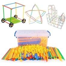 4D DIY Magnetische Blöcke Kunststoff Stroh Kampf Eingefügten Bau Gebäude Kits Blöcke Pädagogisches Spielzeug für Kinder
